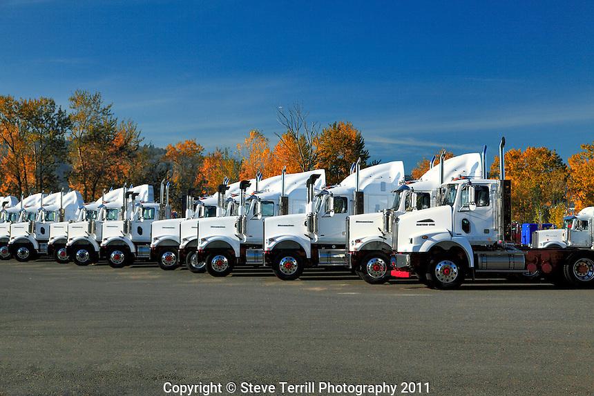 Newly built Western Star trucks on Swan Island in Portland, Oregon