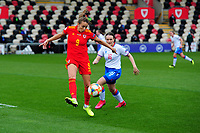 Kayleigh Green of Wales Women's in action during the UEFA Women's EURO 2022 Qualifier match between Wales Women and Faroe Islands Women at Rodney Parade in Newport, Wales, UK. Thursday 22 October 2020
