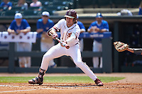 Drew Mendoza (22) of the Florida State Seminoles squares to bunt against the Duke Blue Devils in the first semifinal of the 2017 ACC Baseball Championship at Louisville Slugger Field on May 27, 2017 in Louisville, Kentucky. The Seminoles defeated the Blue Devils 5-1. (Brian Westerholt/Four Seam Images)