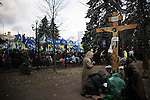 Kiev, Ukraine, 5 december 2013. pro-government demonstration organised in front of Mariinsky Palats, near the Verkhovna Rada (parliament) and the Cabinet of ministry.