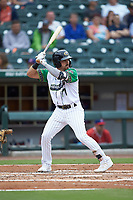 Danny Mendick (17) of the Caballeros de Charlotte at bat against the Buffalo Bisons at BB&T BallPark on July 23, 2019 in Charlotte, North Carolina. The Bisons defeated the Caballeros 8-1. (Brian Westerholt/Four Seam Images)