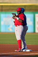 Clearwater Threshers first baseman D.J. Stewart (12) during a game against the Dunedin Blue Jays on May 20, 2021 at BayCare Ballpark in Clearwater, Florida.  (Mike Janes/Four Seam Images)