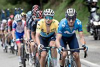 Alejandro Valverde (ESP/Movistar) setting a fierce pace up the climb towards La Plagne (HC/2072m/17.1km@7.5%) <br /> <br /> 73rd Critérium du Dauphiné 2021 (2.UWT)<br /> Stage 7 from Saint-Martin-le-Vinoux to La Plagne (171km)<br /> <br /> ©kramon