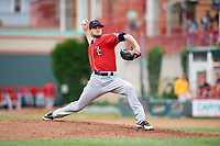 New Hampshire Fisher Cats relief pitcher Nick Hartman (24) delivers a pitch during a game against the Erie SeaWolves on June 20, 2018 at UPMC Park in Erie, Pennsylvania.  New Hampshire defeated Erie 10-9.  (Mike Janes/Four Seam Images)