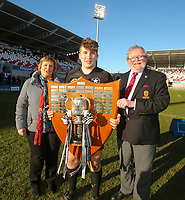 Monday 19th March 2018 |  Ulster Schools Cup Final 2018<br /> <br /> Lexi Parke wife ofUlster Branch President Garffin Parke presents  the 2018 Ulster Schools Cup to Campbell captain John McKee after his side defeated Royal School Armagh in the final at Kingspan Stadium, Ravenhill Park, Belfast, Northern Ireland. Photo by John Dickson / DICKSONDIGITAL