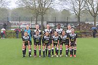 team picture Eendracht Aalst ( Goalkeeper Lisa Vandeputte (1) , Tiana Andries (11) , Loes Van Mullem (33) , Henriette Awete (19) , Valentine Hannecart (8) and Niekie Pellens (41) , Justine Blave (22) , Tiffanie Vanderdonckt (5) , Anke Vanhooren (7) , Chloe Van Mingeroet (17) , Stephanie Van Gils (27) ) before a female soccer game between Sporting Charleroi and Eendracht Aalst on the 8th matchday in play off 2 of the 2020 - 2021 season of Belgian Scooore Womens Super League , tuesday 18 th of May 2021 in Marcinelle , Belgium . PHOTO SPORTPIX.BE | SPP | STIJN AUDOOREN