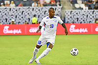 KANSAS CITY, KS - JULY 15: Kevin Fortune #10 of Martinique with the ball during a game between Martinique and USMNT at Children's Mercy Park on July 15, 2021 in Kansas City, Kansas.