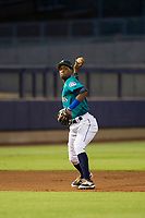 AZL Mariners shortstop Osmy Gregorio (3) on defense against the AZL Royals on July 29, 2017 at Peoria Stadium in Peoria, Arizona. AZL Royals defeated the AZL Mariners 11-4. (Zachary Lucy/Four Seam Images)