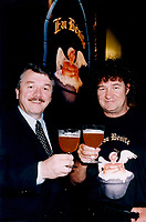 Montreal,July 1996 File Photo with new caption<br /> <br /> CHAMBLY, June 27 /CNW/<br />  - André Dion, president and CEO of Unibroue, seen here on the right,  in a July 1996 File photo taken with singer and business partner Robert Charlebois (right).<br />  today announced that all beers produced at his Chambly brewery have again been<br /> certified free of genetically modified organisms.<br />     After the Canadian Food Inspection Agency (CFIA) rescinded its<br /> certification of Unibroue products when the brewery mentioned this fact in its<br /> advertising, Unibroue decided to submit its entire product line to an<br /> internationally recognized laboratory that would confirm whether or not its<br /> beers were free of GMOs.<br /> <br /> (Photo : (c) 1996 Pierre Roussel<br /> NOTE : Scan  , saved as Adobe RG 1998