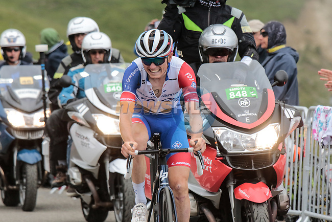 David Gaudu (FRA) Groupama-FDJ rounds the final hairpin  on Col du Portet during Stage 17 of the 2021 Tour de France, running 178.4km from Muret to Saint-Lary-Soulan Col du Portet, France. 14th July 2021.  <br /> Picture: Colin Flockton | Cyclefile<br /> <br /> All photos usage must carry mandatory copyright credit (© Cyclefile | Colin Flockton)