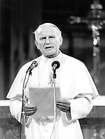 Sept 10, 1984 File Photo - Montreal (Quebec) CANADA -<br /> Pope John Paul II, celebrating a mass in the Montreal Notre-Dame Basilica , Sept 10, 1984 during his visit to Canada.