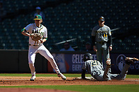 Baylor Bears first baseman Chase Wehsener (37) steps off the base after forcing out Brandt Belk (21) of the Missouri Tigers in game one of the 2020 Shriners Hospitals for Children College Classic at Minute Maid Park on February 28, 2020 in Houston, Texas. The Bears defeated the Tigers 4-2. (Brian Westerholt/Four Seam Images)