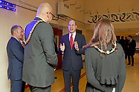 Photo Must Be Credited ©Alpha Press 073074 22/02/2020<br /> Prince William Duke of Cambridge with Dan De'Ath, Lord Mayor of the City and County of Cardiff and his wife Lady Mayoress, Rebecca at the Six Nations match between Wales and France at the Principality Stadium in Cardiff, Wales.<br /> <br /> *** No UK Rights Until 28 Days from Picture Shot Date ***/AdMedia
