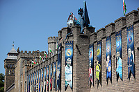 Pictured: A picture of Gareth Bale amongst a series of UEFA banners draped outside Cardiff Castle Thursday 25 May 2017<br />