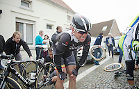 Stijn Devolder (BEL/Trek Factory Racing) is screaming out the pain from a crash, but will continu to ride (and even show himself prominently)<br /> <br /> Dwars Door Vlaanderen 2014<br /> <br /> Dwars Door Vlaanderen 2014