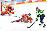 Eishockey DEL 37. Spieltag: Düsseldorfer EG vs <br /> ERC Ingolstadt am 07.04.2021 im ISS Dome in Düsseldorf<br /> <br /> Schuss von Ingolstadts Fabio Wagner (Nr.5) auf Düsseldorfs Torhüter Marko Pantowski  (Nr.30), der mit dem Save<br /> <br /> Foto © PIX-Sportfotos *** Foto ist honorarpflichtig! *** Auf Anfrage in hoeherer Qualitaet/Aufloesung. Belegexemplar erbeten. Veroeffentlichung ausschliesslich fuer journalistisch-publizistische Zwecke. For editorial use only.