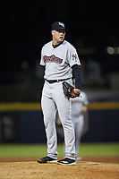 Scranton/Wilkes-Barre RailRiders relief pitcher Kaleb Ort (37) looks to his catcher for the sign against the Gwinnett Stripers at Coolray Field on August 16, 2019 in Lawrenceville, Georgia. The Stripers defeated the RailRiders 5-2. (Brian Westerholt/Four Seam Images)