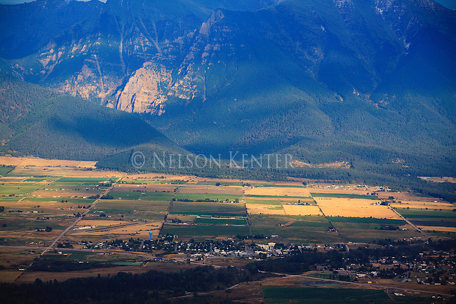 Mission Valley and St. Ignatius in western Montana viewed from the hills in the National Bison Range