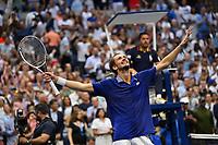 12th September 2021: Billie Jean King Tennis Center; New York, USA:  US Opten Tennis Championships, Mens singles final,  Novak Djokovic versus Daniil Medvedev:   Medvedev celebrates his 3-set shock win over Djokovic