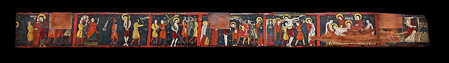 Romanesque painted Beam depicting The Passion and the Stations of the Cross<br /> <br /> Around 1192-1220, Tempera on wood from Catalonia, Spain.<br /> <br /> Acquisition of Museums Board's campaign in 1907. MNAC 15833.<br /> <br /> It is not known what was the original location of the beam, but it might have been part of the structure of a canopy. In any case, it was reused in a ceiling, as evidenced by the cuts that are at the top. It is decorated with seven scenes from the Passion and Resurrection of Christ, the whipping on the Road to Calvary, Crucifixion, Descent and Mourning of the Dead Body of Christ and the Mary discovering the empty tomb. The narrative character in the images and the predominance of yellow is typical of Catalan painting of the 1200's,  specifically with illustrations of Liber Feudorum Maior, a late twelfth-century illuminated cartulary book style of the Crown of Aragon