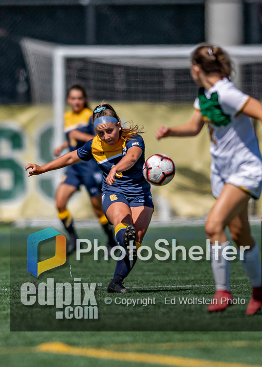 1 September 2019: Merrimack College Warrior Midfielder Erin Tyldesley, a Sophomore from Grafton, MA, in action against the University of Vermont Catamounts in Game 3 of the TD Bank Women's Soccer Classic at Virtue Field in Burlington, Vermont. The Lady Warriors rallied in the second half to defeat the Catamounts 2-1. Mandatory Credit: Ed Wolfstein Photo *** RAW (NEF) Image File Available ***