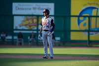Arkansas Travelers infielder Mike Ahmed (4) takes a lead off second during a Texas League game between the Northwest Arkansas Naturals and the Arkansas Travelers on May 30, 2019 at Arvest Ballpark in Springdale, Arkansas. (Jason Ivester/Four Seam Images)