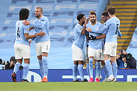 3rd November 2020; City of Manchester Stadium, Manchester, England. UEFA Champions League group stages, Manchester City versus Olympiacos;  Goal celebrations from scorer Ferran Torres Manchester with Kyle Walker and Riyad Mahrez  Manchester City for 1-0 in the 12th minute