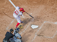 20 September 2015: Washington Nationals catcher Wilson Ramos in action against the Miami Marlins at Nationals Park in Washington, DC. The Nationals defeated the Marlins 13-3 to take the final game of their 4-game series. Mandatory Credit: Ed Wolfstein Photo *** RAW (NEF) Image File Available ***