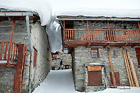 Bonneval sur Arc, Savoie, France, 16 February 2012. Village streets are covered by up to 1.5 metres of snow.