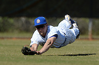 South Dakota State JackRabbits outfielder Michael Finocchiaro (29) makes a diving catch during a game against the Georgetown Hoyas at South County Regional Park on March 9, 2014 in Port Charlotte, Florida.  Georgetown defeated South Dakota 7-4.  (Mike Janes/Four Seam Images)