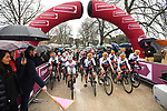 The start of the Strade Bianche Women Elite NamedSport race running 136km from Siena to Siena, Italy. 3rd March 2018.<br /> Picture: LaPresse/Massimo Paolone | Cyclefile<br /> <br /> <br /> All photos usage must carry mandatory copyright credit (© Cyclefile | LaPresse/Massimo Paolone)