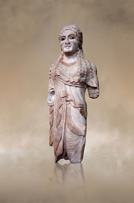 Ancient Greek Archaic statuette of a  kore, found in the Acropolis Athens, 500-490 BC, Athens National Archaeological Museum. Cat no BE 15/2009.<br /> <br /> The kore statues hair is adorned with a wreath and her ears by round disk earings. Traces of paint can be found on her garments and jewellery. Red paint was found on her hair and eyes. Acropolis Museum Cat no 676, 257
