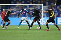 Christian Eriksen of FC Internazionale , Kalidou Koulibaly of SSC Napoli , Romelu Lukaku of FC Internazionale and Nicolo Barella of FC Internazionale compete for the ball during the second leg of Italy Cup semifinal between SSC Napoli and FC Internazionale at San Paolo Stadium in Naples ( Italy ), June 13th, 2020. Play resumes behind closed doors following the outbreak of the coronavirus disease. <br /> Photo Stringer CP/ Insidefoto