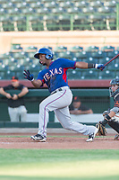 AZL Rangers first baseman Stanley Martinez (29) follows through on his swing during an Arizona League game against the AZL Giants Black at Scottsdale Stadium on August 4, 2018 in Scottsdale, Arizona. The AZL Giants Black defeated the AZL Rangers by a score of 3-2 in the first game of a doubleheader. (Zachary Lucy/Four Seam Images)