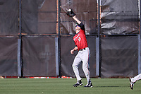 GREENSBORO, NC - FEBRUARY 25: Dan Ryan #10 of Fairfield University catches a fly ball during a game between Fairfield and UNC Greensboro at UNCG Baseball Stadium on February 25, 2020 in Greensboro, North Carolina.
