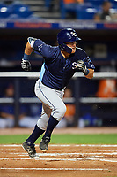Charlotte Stone Crabs second baseman Tristan Gray (9) runs to first base during the second game of a doubleheader against the St. Lucie Mets on April 24, 2018 at First Data Field in Port St. Lucie, Florida.  St. Lucie defeated Charlotte 5-3.  (Mike Janes/Four Seam Images)