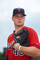 GCL Twins pitcher Landon Leach (46) poses for a photo after the first game of a doubleheader against the GCL Rays on July 18, 2017 at Charlotte Sports Park in Port Charlotte, Florida.  GCL Twins defeated the GCL Rays 11-5 in a continuation of a game that was suspended on July 17th at CenturyLink Sports Complex in Fort Myers, Florida due to inclement weather.  (Mike Janes/Four Seam Images)