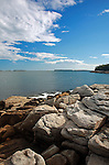 Summertime view of the rocky coast of Maine at Birch Point State Park in Owls Head, Maine, USA