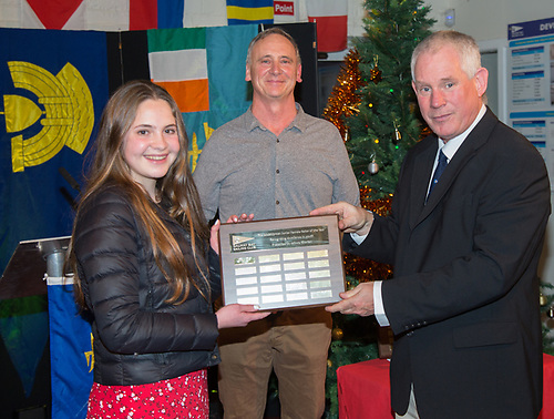 Isobella Irwin winning the Junior Female Sailor of the MidShipMan award at the Galway Bay Sailing Club presented by Johnny Shorten Commodore and Pat Irwin of Galway Bay Sailing Club