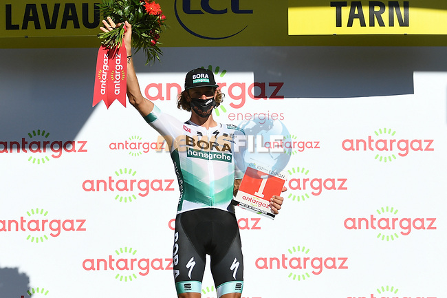 Daniel Oss (ITA) Bora-Hansgrohe wins the day's combativity award at the end of Stage 7 of Tour de France 2020, running 168km from Millau to Lavaur, France. 4th September 2020.<br /> Picture: ASO/Alex Broadway | Cyclefile<br /> All photos usage must carry mandatory copyright credit (© Cyclefile | ASO/Alex Broadway)