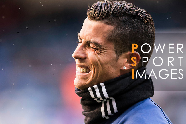 Cristiano Ronaldo of Real Madrid, spotted with a diamond ear ring, in training prior to the La Liga match between Real Madrid and Granada CF at the Santiago Bernabeu Stadium on 07 January 2017 in Madrid, Spain. Photo by Diego Gonzalez Souto / Power Sport Images