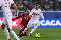 """Harrison, NJ - Thursday March 01, 2018: German Mejía, Alejandro Romero Gamarra """"Kaku"""". The New York Red Bulls defeated C.D. Olimpia 2-0 (3-1 on aggregate) during a 2018 CONCACAF Champions League Round of 16 match at Red Bull Arena."""