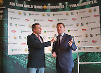 09-01-14, Netherlands, Rotterdam, TC Kralingen, ABNAMROWTT Press-conference, ABNAMRO'S Ernst Broekhorst explained the new three year continuation of the tournament, left Edward van Cuilenborg <br /> Photo: Henk Koster