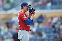 Buffalo Bison starting pitcher Ryan Borucki (54) looks to his catcher for the sign against the Durham Bulls at Durham Bulls Athletic Park on April 25, 2018 in Allentown, Pennsylvania.  The Bison defeated the Bulls 5-2.  (Brian Westerholt/Four Seam Images)