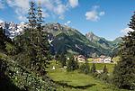 Austria, Vorarlberg, Schroecken-Nesslegg: with Hochberg 2.324 m and Braunarlspitze 2.649 m mountains