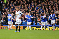 Pictured: A dejected Wayne Routledge of Swansea looks on as Romelu Lukaku of Everton is celebrating his goal with team mates in the background. Saturday 22 March 2014<br /> Re: Barclay's Premier League, Everton v Swansea City FC at Goodison Park, Liverpool, UK.