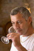 Pierre Ravaille Domaine Ermitage du Pic St Loup, Chateau Ste Agnes. Pic St Loup. Languedoc. Owner winemaker. Tasting wine. France. Europe.