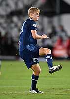 LAKE BUENA VISTA, FL - AUGUST 01: Keaton Parks #55 of New York City FC watches his shot during a game between Portland Timbers and New York City FC at ESPN Wide World of Sports on August 01, 2020 in Lake Buena Vista, Florida.