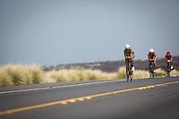 Meredith Kessler leads the Elite Women on the bike portion of the 2013 Ironman World Championship in Kailua-Kona, Hawaii on October 12, 2013.
