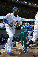 Chicago Cubs outfielder Jorge Soler (68) takes the field during a game against the Milwaukee Brewers on August 13, 2015 at Wrigley Field in Chicago, Illinois.  Chicago defeated Milwaukee 9-2.  (Mike Janes/Four Seam Images)